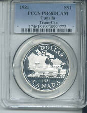 1981 CANADA TRAN-CON SILVER DOLLAR-PCGS PROOF 68 DEEP CAMEO-BEAUTIFUL COIN !!