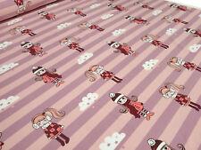 Stoff Baumwolle Jersey Streifen Mädchen Wolken rosa flieder Kinderstoff