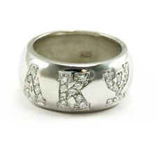 Alpha Kappa Psi Fraternity Dome Shaped Sterling Silver Ring with CZ -NEW!!**