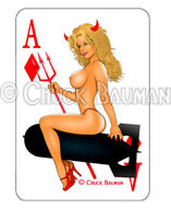 Bomber Girl Sexy Devil Girl HOT STUFF pin-up playing card decal sticker