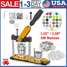 "Aluminum Alloy Manual Badge Maker Rotate 1.25""/2.28"" Die Mould with 100 Buttons"