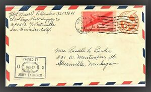 1943 APO 502- CENSORED BY US ARMY EXAMINER - 6 cents pre stamped AIR MAIL