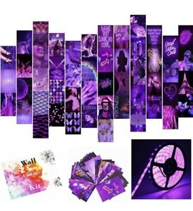 Wall Collage Kit Aesthetic Pictures, Purple Photo Collage Kit with LED Stripe...