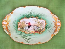 HAVILAND LIMOGES HAND PAINTED GAME DUCK SCENE & GOLD ENCRUSTED PLATTER SIGNED &