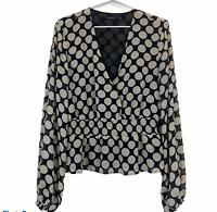 Portmans Womens Black with Beige Spots Long Sleeve Blouse Size 14