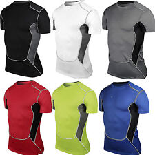 Mens Sport T-Shirt Compression Armour Thermal Base Layer Fitness Under Top Vest