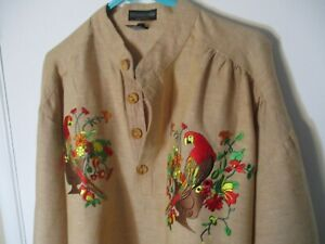 Large Brown Embroidered THE J. PETERMAN COMPANY 1/2 Button Cotton/Linen Shirt