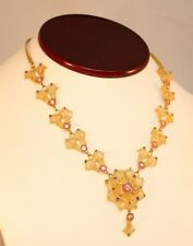 Solid 22K Yellow Gold Fancy Necklace Ethnic India Flowers  Stones Unique 916