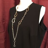 Silver & Bronze Tone Long Large Link Chain Necklace Asymmetrical Design