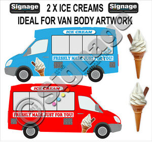 ice cream van sticker, 40inch high ice cream with flake x 2, vans or cafes