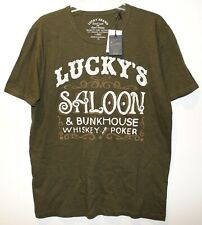 Lucky Brand Mens Olive Green Lucky's Saloon Bunkhouse Cotton T-Shirt NWT Size M
