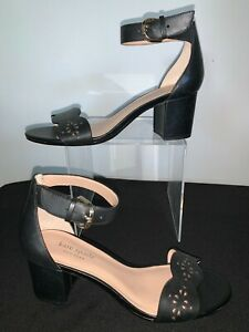 Kate Spade New York Sandals Willow Black Leather Ankle Strap Cutouts Sz 6.5 NEW