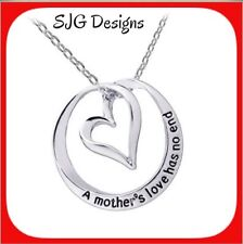 """""""A MOTHERS LOVE HAS NO END"""" (Insperational Message) -Pendant necklace- New"""