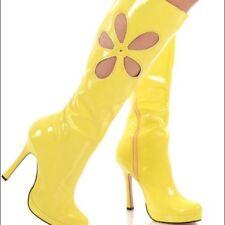 Elle Yellow GoGo Boots Leg Avenue Love Child Flower Cut Out Boots Size 7