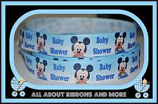 "7/8"" MICKEY MOUSE BABY SHOWER PRINT RIBBON- 1 YARD"