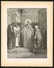 1880s Original Antique Vintage Jesus Money Tax Christian Art Engraving Print