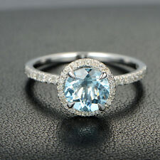 Certified Ring 14Kt White Gold. Attractive 2.80Ct Round Cut Aquamarine Propose