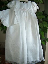 Baby Girls Embroidered Whites Christening Boutique Polyester Dress Set, S Square