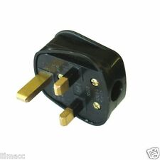 2X NEW UK FUSED STANDARD 13AMP 13A BLACK 3 PIN MAINS HOUSEHOLD PLUG