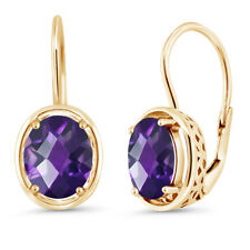 3.00 Ct Oval Checkerboard Purple Amethyst 18k Yellow Gold Plated Silver Earrings