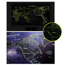 World map art deco original home dcor posters prints ebay glow in the dark luminous paper world map travel routes decoration wall poster gumiabroncs Gallery