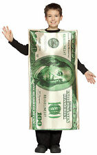 $100 Dollar Bill Child Costume Money Cash Boys Girls Halloween Funny One Hundred