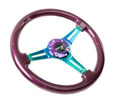 NRG 350mm Classic Wood Grain Steering Wheel Smooth Purple w/ Neochrome New