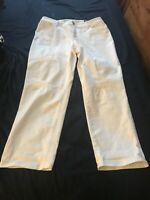NWT $109.00 CHICO'S SO Slimming Eyelet Embrdered Girlfriend Crop Alabaster Sz2.5