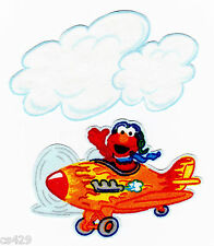 "3"" SESAME STREET ELMO AIRPLANE PLANE  & CLOUD CHARACTER FABRIC APPLIQUE IRON ON"