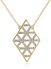 Juicy Couture Gold Tone Pave Lattice Diamond-Shaped Pendant Long Necklace $58