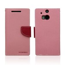 Genuine Mercury Goospery Fancy Diary Wallet Case for HTC One M8 Baby Pink