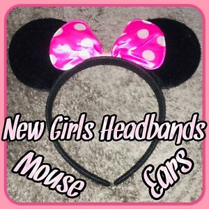 NEW UK Kids Mouse Ears Headband Pink Bow Girls Accessories Adults Cosplay Gifts