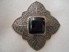 Stunning Judith Jack Sterling Silver Marcasite Beveled Black Onyx Brooch  626508