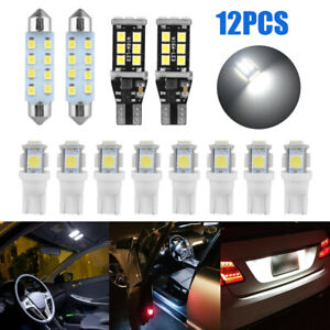 12× LED Interior Package Kit For Map Dome Lamp License Plate Light Accessories