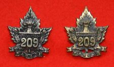Canadian. 209th Btn (Swift Current) CEF Genuine WW1 OR's Collar Badges