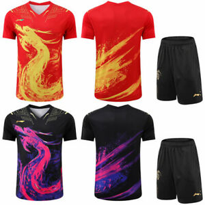 Li Ning men's sports Tops tennis/Table tennis clothes set T shirts+shorts