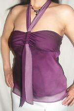 Women's Halterneck No Pattern Chiffon Waist Length Tops & Shirts