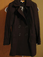 Tulle Women's Dark Brown Wool Blend Slim Fit Coat Button Snap Front w Lining Med