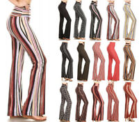 Women's Flared Leg Stretchy Pants Bell Bottom Striped Long High Waisted Long