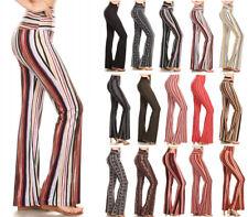 Flared Leg Stretch Leggings Pants Soft Striped Print Long High Waist Fold Yoga