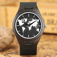 Handmade Map Bamboo Genuine Leather Women Men Analog Quartz Wrist Watch Gift