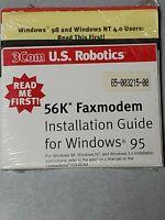 3Com US Robotics 56K Faxmodem Installation Guide Disk Windows 95 98 NT 4.0