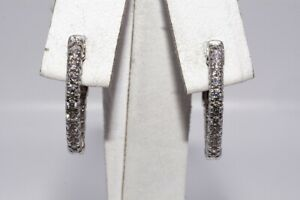 "$3,100 .86CT NATURAL ROUND CUT DIAMOND ""IN & OUT"" PETITE HOOP EARRINGS 14K GOLD"