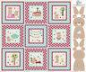 "Teddy Bear Nursery Picnic Project Panel Cotton Fabric Riley Blake 36""X44"" PANEL"