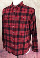 Eddie Bauer Flannel Button Front Long Sleeve Red Black Plaid Shirt Men's L