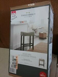 "24"" Rumford Saddle Counter Stool with Wood Leg - Threshold Gray Linen"