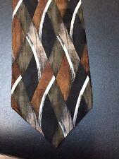 Pierre Balmain Couture 100% Silk Neck Tie Brown Black Abstract