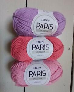 DROPS Paris cotton aran oeko- tex crochet pink purple bundle