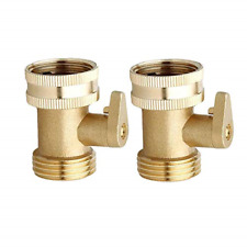 2pcs 3/4 Inch Heavy Duty Brass Garden Nozzle Solid Shut Off Valve Hose Connector