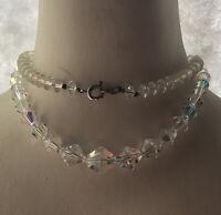 1940s Crystal Necklace Aurora Borealis Glass Beaded Art Deco Geometric Vintage